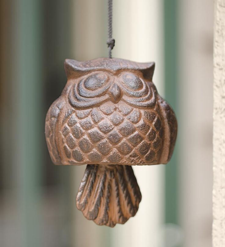 """Iron #Owl #Bell - this cute little owlet's tail will """"ring"""" in the wind!"""