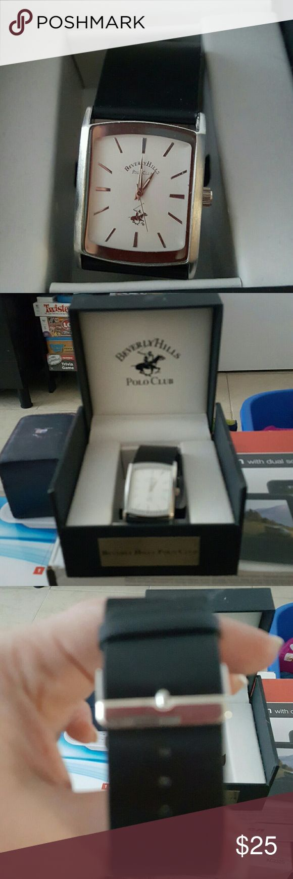 Men's Beverly Hills Polo Watch Genuine leather band....never worn. Clear screen still on the back. Will come with box. Beverly Hills Polo Club Accessories Watches
