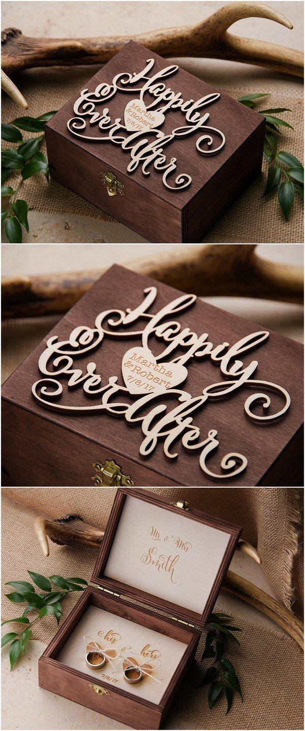 Rustic country real wood ring bearer box @4LOVEPolkaDots #rusticwedding #countrywedding #dpf