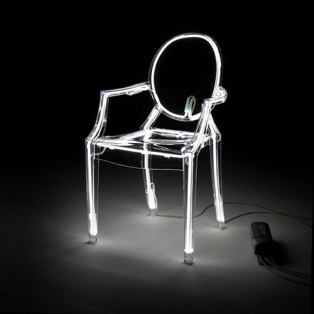 Garden-chairs during Summertime! / As a nighttime-light in the bedroom! Kartell Louis Ghost Chair ( Phillippe Stark )