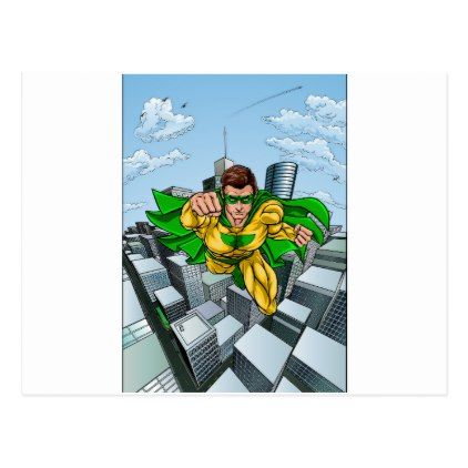 Comic Book Flying Superhero City Postcard - postcard post card postcards unique diy cyo customize personalize