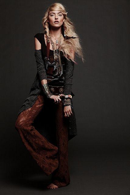 ☮ American Hippie Bohemian Style ~ Boho . . . Lace Palazzo Pants!