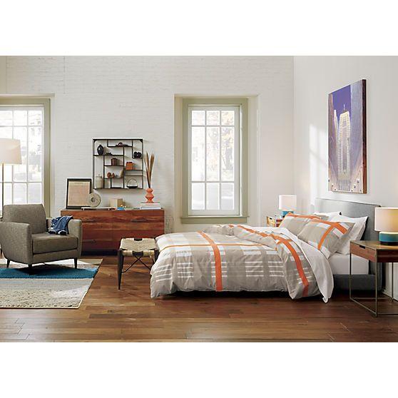 lively orange bed linens | CB2