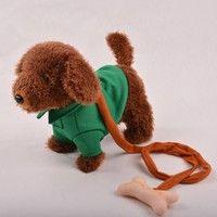 Wish | Children's educational plush toys lovely electric walk dog leash band music puzzle toy wonderful gifts (Size: 1)