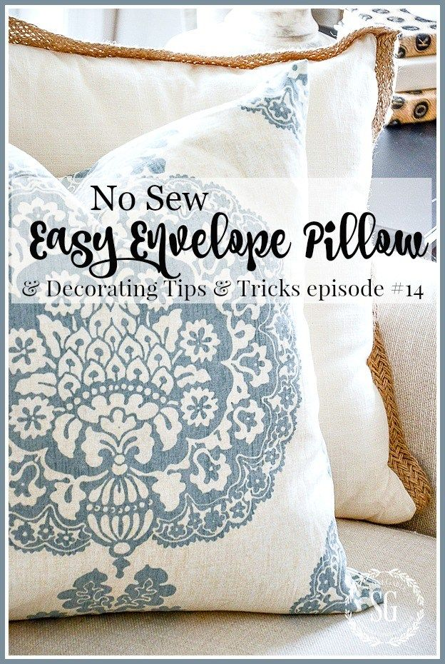 "NO SEW EASY ENVELOPE PILLOW- Use any fabric (this was from an old curtain!) and use a glue gun to ""sew"" it together!  Great way to inexpensively update a room!"