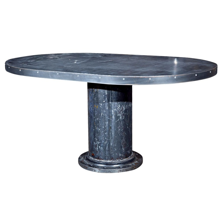 Industrial base oval dining table mesas de comedor for Mision comedor industrial
