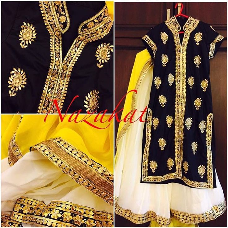 A black bandh gala shirt with gotta patti detailing teamed up with an off white lehenga and a yellow dupatta! Now this piece can also be done as a straight suit/sharara! This piece can be done in any colour or we can take inspiration from this and create something new for you! DM or whatsapp for details Shipping worldwide For more designs and updates follow us on facebook at: www.facebook.com/nazakatjal #black #yellow #cream #white #pearls #royal #zardozi #bridetobe #punjabibride #sikhbride…