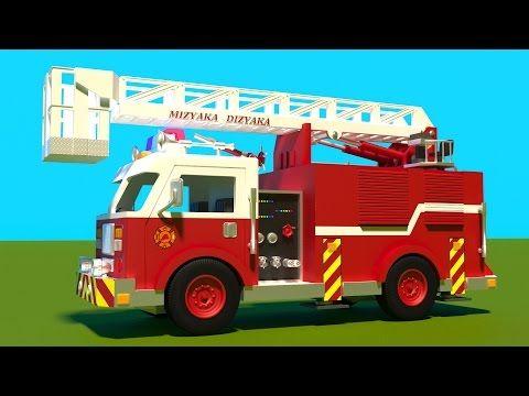 Camion de pompier en action dessin animé éducatif francais. Jeu d'assemblage…