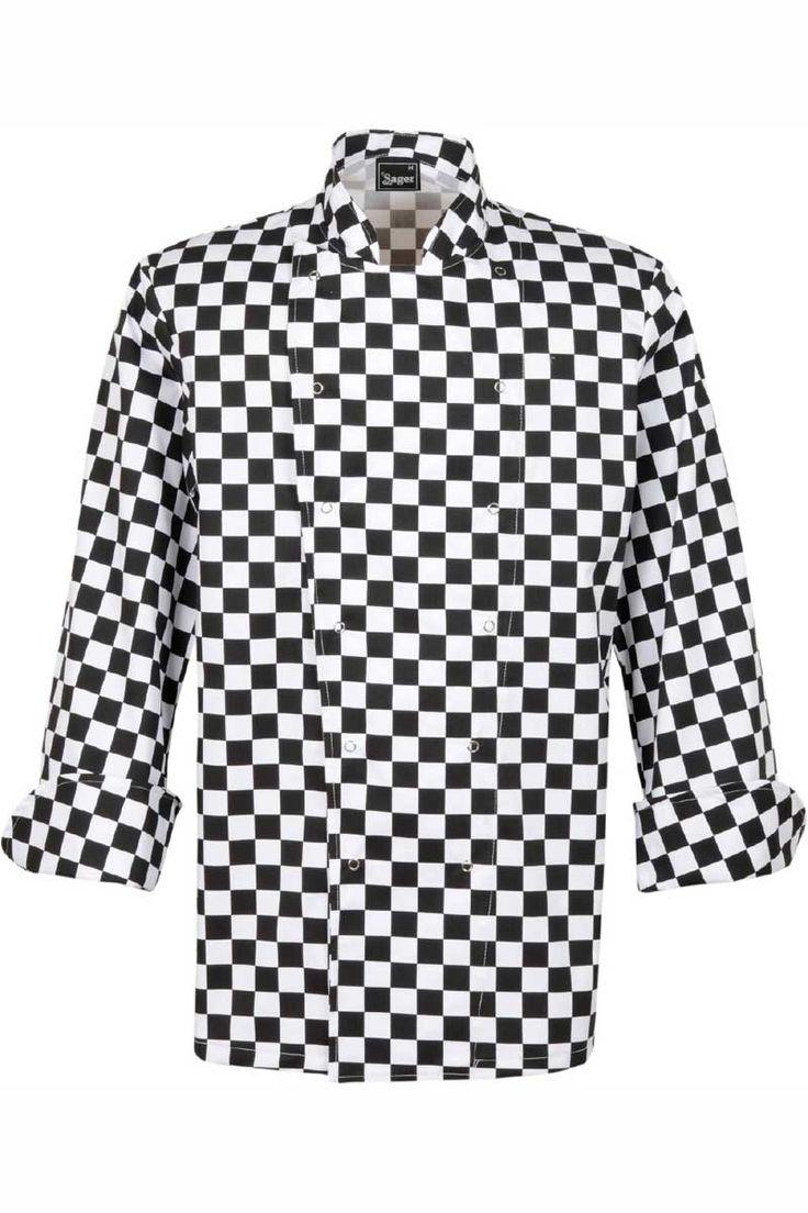 La chaqueta de cuadros negros y blancos de Sager, es de manga larga y se cierra mediante dos hileras de cierres ocultos. Sus mangas estan acabadas en punto redondo para poderse doblar. La espalda está ligeramente entallada para poder quedar perfecta a sus usuarios. Prenda con cierres para una extracción rápida. #MasUniformes #RopaLaboral #UniformesDeTrabajo #VestuarioOnline #Sager