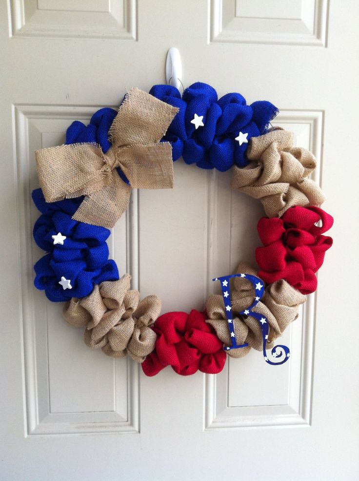 Fourth of July: burlap, red, and blue wreath