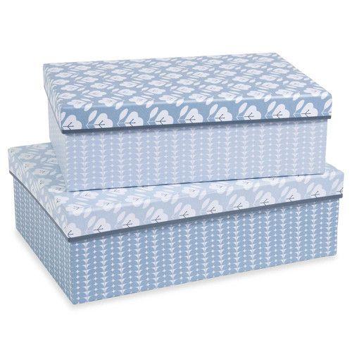 2 scatole rettangolari di cartone blu L 28 e L 31 cm AZZURA