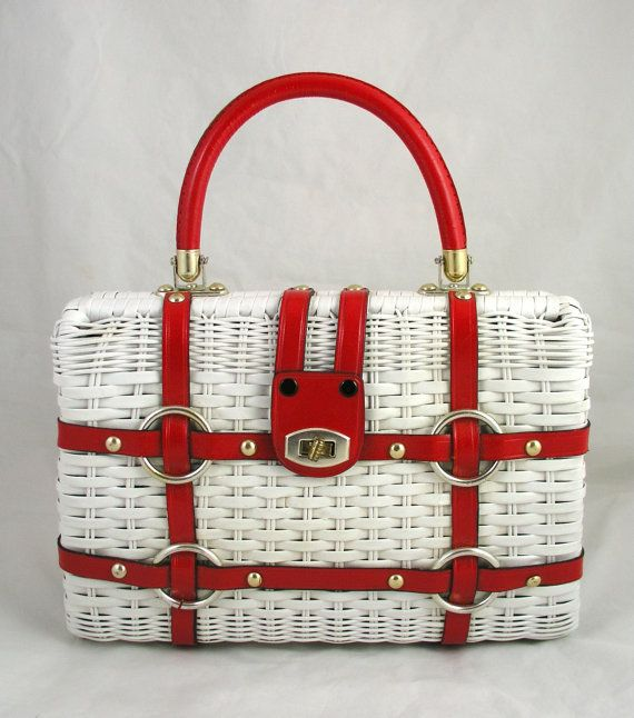 Vintage 60s Red Leather & White Wicker Nautical Purse