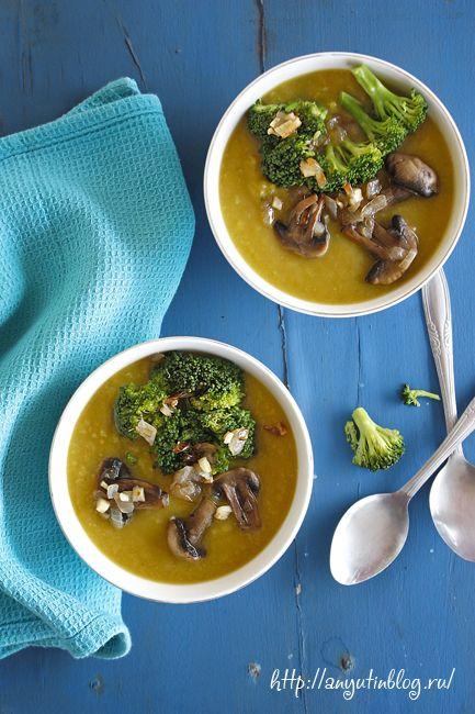 Вегетарианский суп из батата с брокколи и шампиньонами #soup, #sweet, #potato, #broccoli, #vegan, #vegetarian, #healthy, #food, #tasty, #lunch, #mushrooms