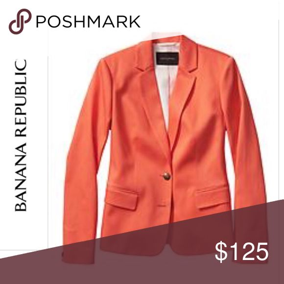 🎉FLASH SALE🎉Banana Republic Pique Blazer 💝 Stunning Banana Republic pique pop tailored blazer🔹 Color: Coral🔹Banana Republic Factory 🔹98% Cotton, 2% Spandex 🔹Machine Wash, Imported 🔹Notch lapel, long sleeves, with one-button cuffs🔹2 button closure, front pockets. 🔹 Please no trades or pp. MSRP:$199.99 + Tax🔹PRICE FIRM Banana Republic Jackets & Coats Blazers