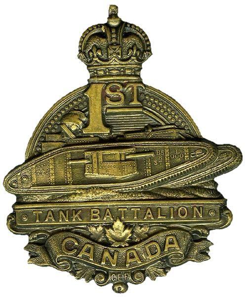 CEF - Cap Badge - 1st Tank Battalion. WW1.