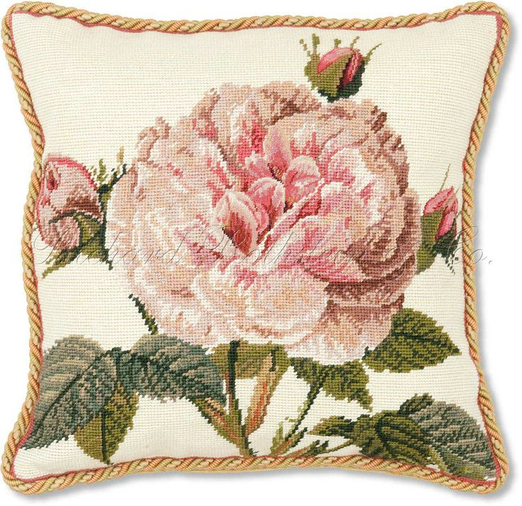 needlepoint images | Rose Needlepoint Pillow | Pale Pink Rose Needlepoint Pillow | Floral ...