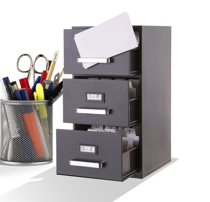 27 Useful Products That Ll Rescue Your Messy Desk Filing Cabinet Business Card Organizer Filing Cabinet Storage