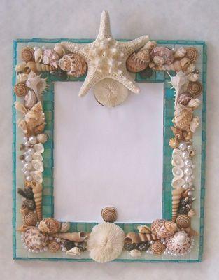 glass tiled shell mirror | Patricia Rockwood Mosaics - shell mirror