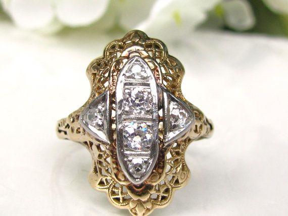 Antique Engagement Ring European Cut by LadyRoseVintageJewel