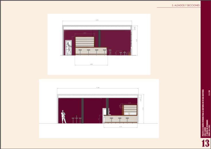 """Alzados y secciones del diseño realizado para la reforma planteada para el bar """"PIYAMA"""". Realizado con AutoCad."""