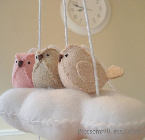 Cloud and baby bird nursery mobile  pink and peach by BlossomHill, $36.00