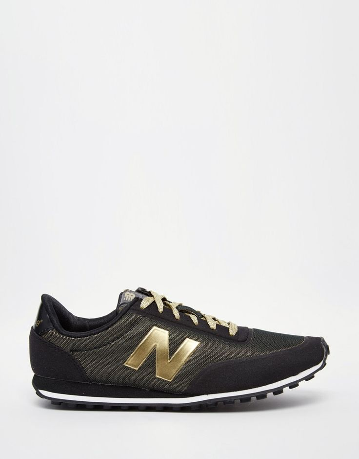 Image 2 of New Balance 410 Black & Metallic Gold Trainers