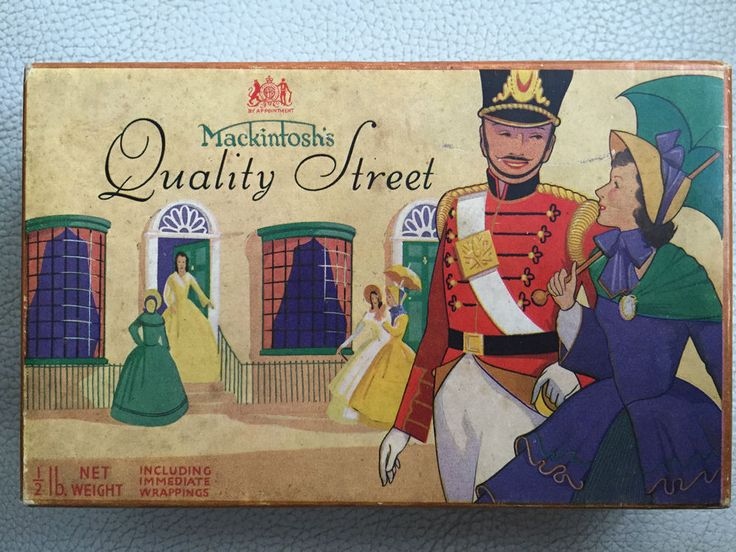 VINTAGE 30's/40's John Mackintosh QUALITY STREET Chocolates 1/2 lb Cardboard Box