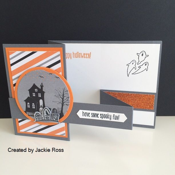 a fun fold halloween card created by jackie ross featuring images from the spooky fun stamp - Stampin Up Halloween Ideas