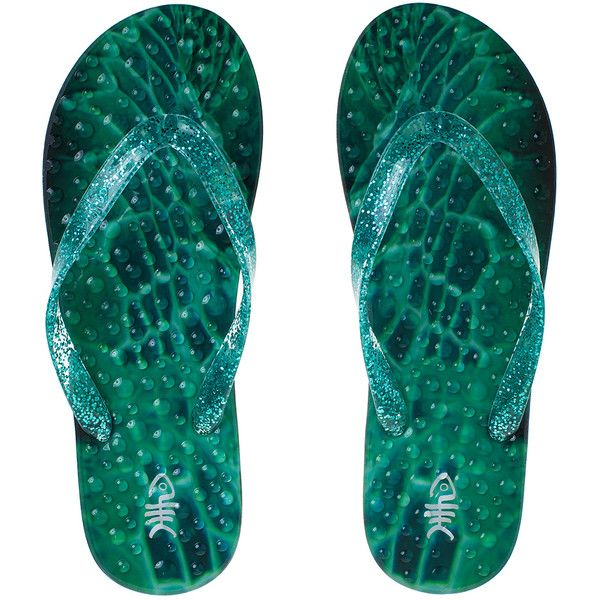 flopZ Green Emerald Glitter Strap Flip-Flop ($21) ❤ liked on Polyvore featuring shoes, sandals, flip flops, colorful shoes, low heel sandals, multi colored sandals, multi colored flip flops and multicolor shoes