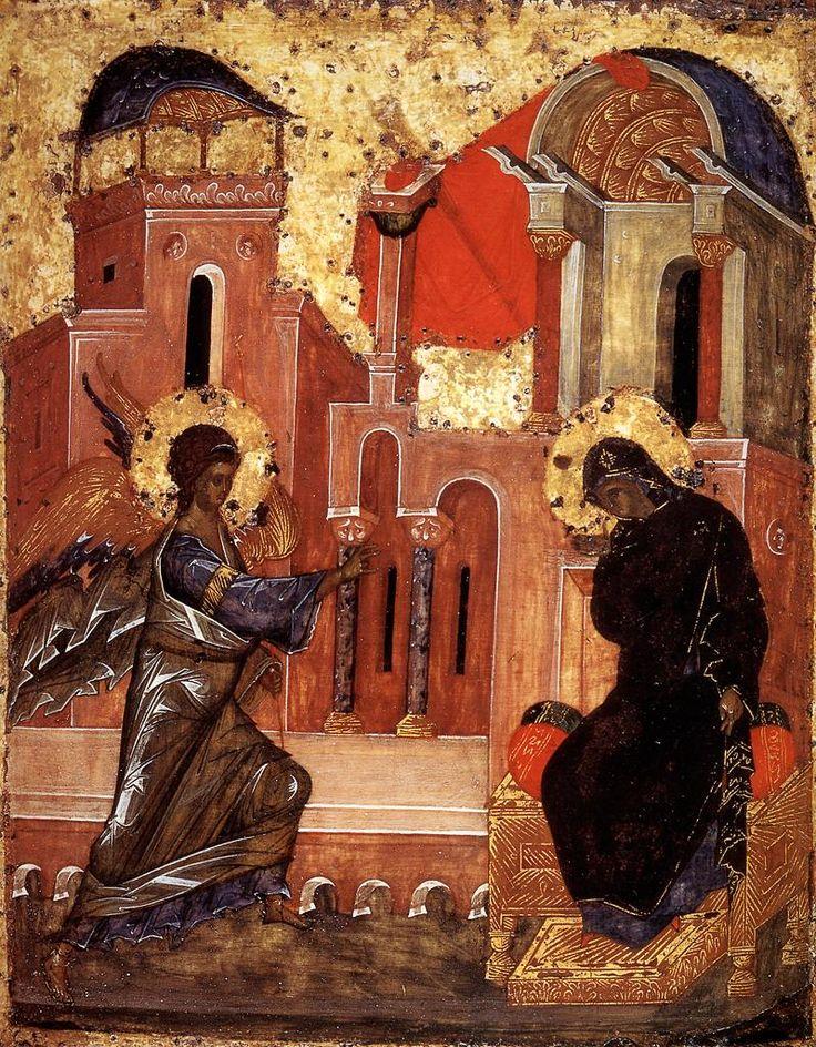 ΜΡ.ΘΥ__Ευαγγελισμός της Υπεραγίας Θεοτόκου _ march 25 (Russian 15th-century icon of the Annunciation