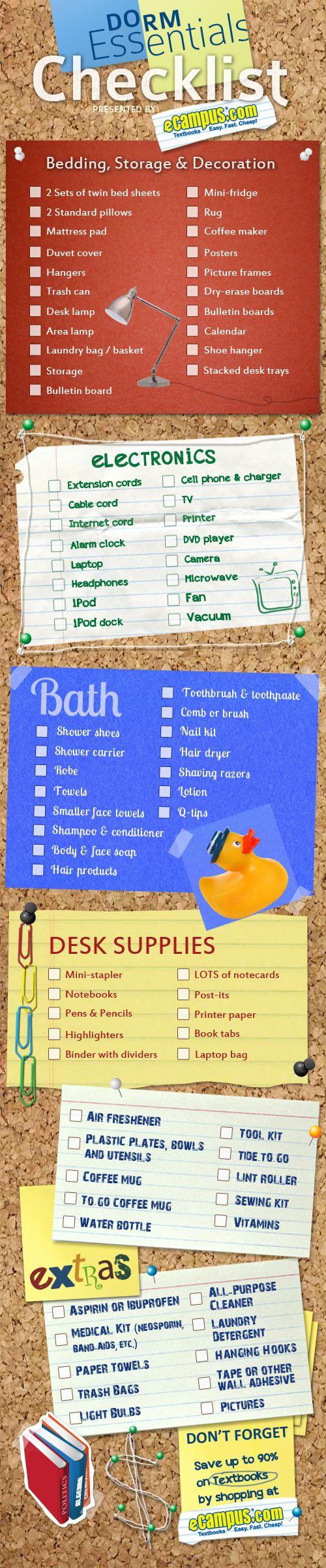 List Of 10 Dorm Room Essentials & Checklist | A Mitten Full of Savings