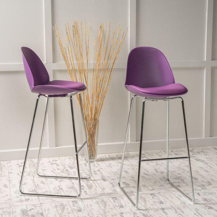 Vorow Contemporary Purple Bar Stool