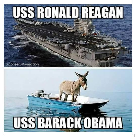 uss Ronald Reagan,uss barack obama,donkey,jack ass, humor,meme