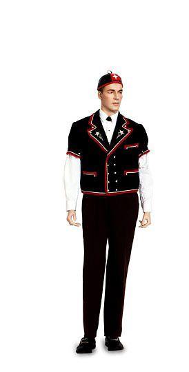 Der Bernerkühermutz ist wohl die bekannteste Männertracht, nicht zuletzt wegen seiner Kopfbedeckung, dem Lederchäppi. Der schwarze Kühermutz aus Samt mit Puffärmeln und Knöpfen aus Weissmetall ist mit roten Borten eingefasst. Als Kopfbedeckung kann statt dem schwarzen Lederkäppi mit roter Verzierung auch der schwarze Jodlerhut getragen werden. Die Halbleinhose, das weisse Jodlerhemd mit bestickter Brust und ein schwarzer Krawattenknopf vervollständigen das Bild.