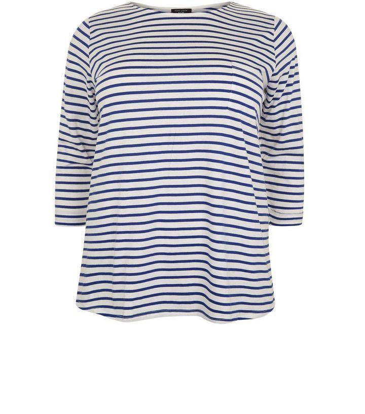 Curves– Gestreiftes T-Shirt in Blau mit Fronttasche und 3/4-Ärmeln | New Look
