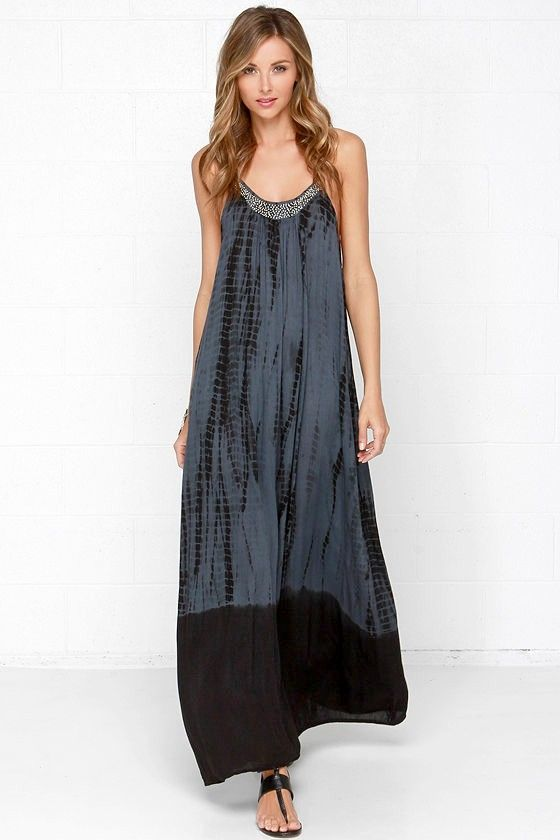 Bead-nik Babe Beaded Grey Tie-Dye Maxi Dress
