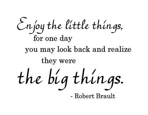 Life Truth: Enjoy the little things for one day you may look back and realize they were the big things. ~Robert Brault
