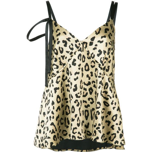 Cinq A Sept leopard print cami top ($265) ❤ liked on Polyvore featuring tops, nude, cami tank, leopard top, nude tank top, leopard tank and camisole tank top