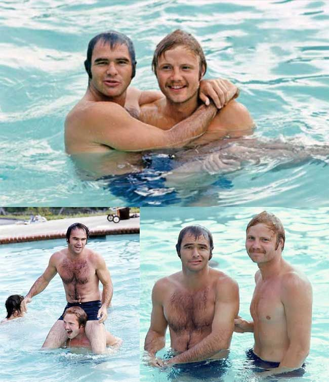 Burt Reynolds and Jon Voight in the hotel pool during the filming of Deliverance