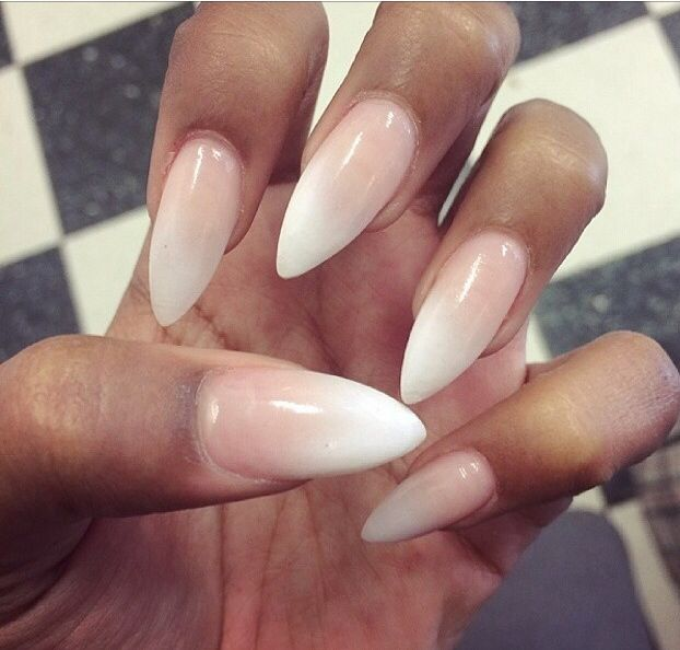 Ombré French manicure stiletto acrylic nails