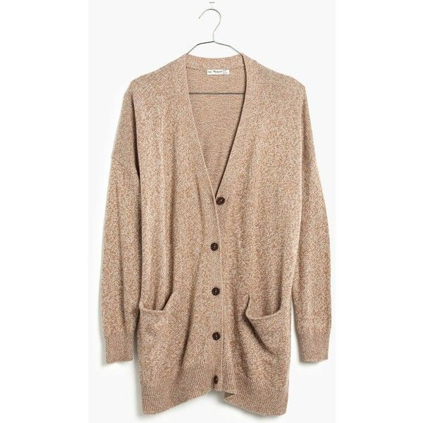 MADEWELL Long Cardigan Sweater ($88) ❤ liked on Polyvore featuring tops, cardigans, sweaters, marled umber, slouchy tops, over sized cardigan, oversized cardigan, oversized tops and madewell cardigan