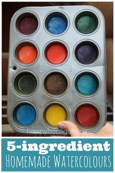 Make homemade watercolour discs with 5 kitchen ingredients.  These are great homemade paints for kids who go through their paints quickly.  Making them is a fun science experiment in itself! - Happy Hooligans