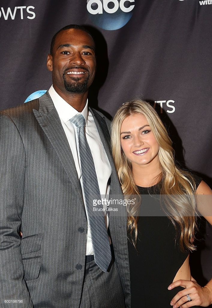 Calvin Johnson Jr and Lindsay Arnold pose as Season 23 of 'Dancing With The Stars' meets the press at Planet Hollywood Times Square on September 7, 2016 in New York City. .
