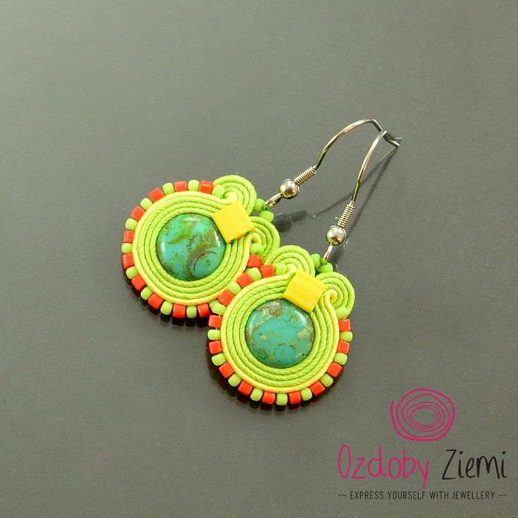 Colorful small soutache earrings, green cute earrings, orange little dangle earrings, turquoise boho earrings, fresh juicy colorful earrings by OzdobyZiemi on Etsy