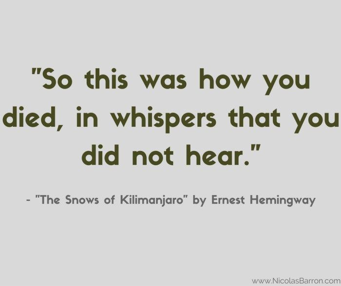 """a review of hemingways the snows of kilimanjaro A review of ernest hemingway: a new life, a new biography by  life of francis  macomber,"""" and the """"snows of kilimanjaro"""" are arguably his."""