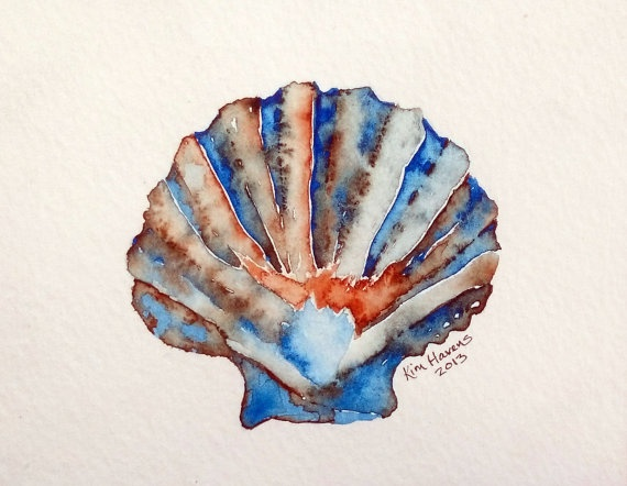 Original Watercolor Seashell Painting by havensart on Etsy, $14.99