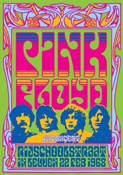 1PINK FLOYD - 22 February 1968 Rijschool in Leuven, Belgium - first tour - concert live show poster artistic