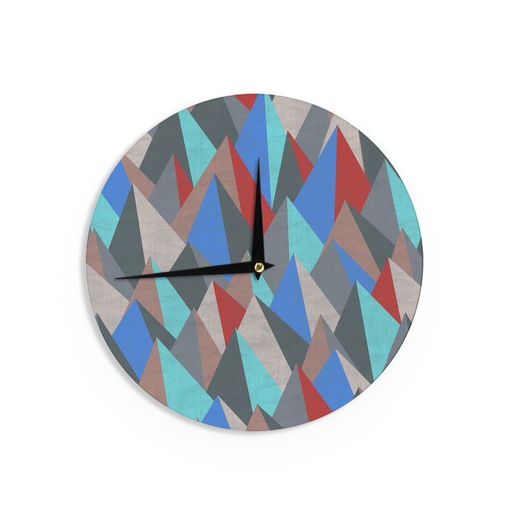 "Michelle Drew ""Mountain Peaks II"" Blue Red Wall Clock"