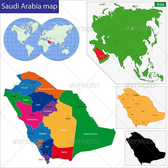 Saudi Arabia Map Map Colorful Map Map Vector