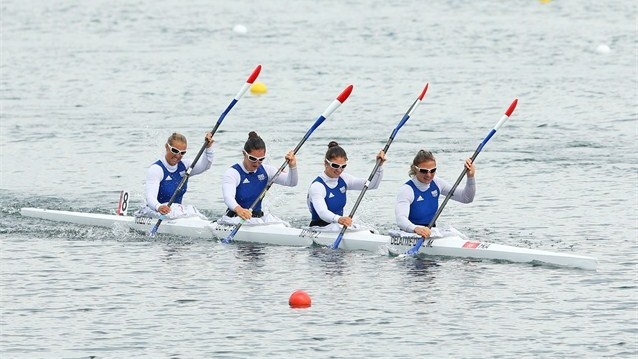 Marie Delattre-Demory, Joanne Mayer, Sarah Guyot and Gabrielle Tuleu of France compete in the Women's Kayak Four (K4) 500m Sprint final during the Canoe Sprint on Day 12 of the London 2012 Olympic Games at Eton Dorney